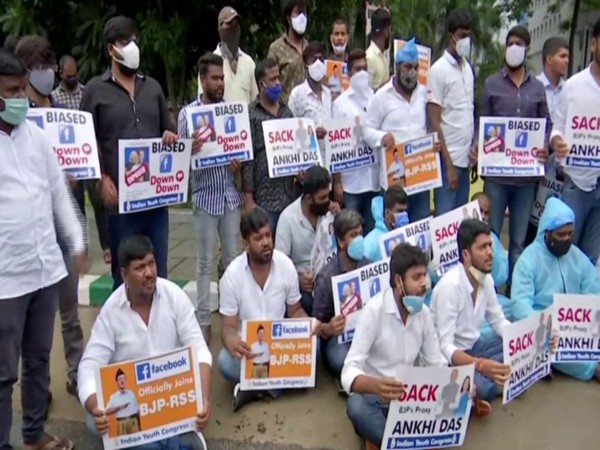 Protest held by Telangana Youth Congress members outside Facebook's office [Photo/ANI]