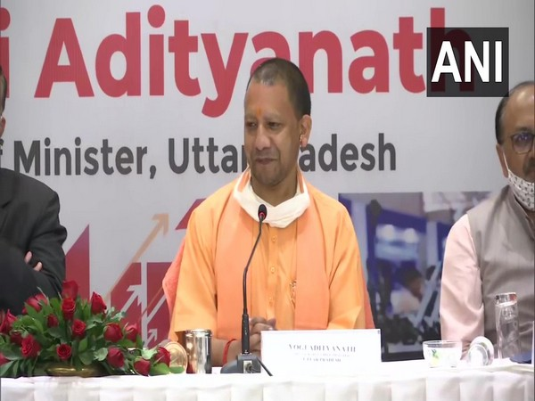 Uttar Pradesh chief minister Yogi Adityanath addressing a press conference in Mumbai on Wednesday. (Photo/ANI)