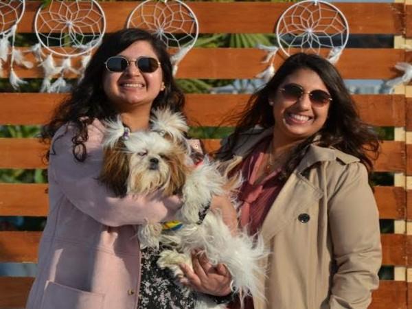 Yukti Nagpal and Cherry Nagpal with her pet Mia