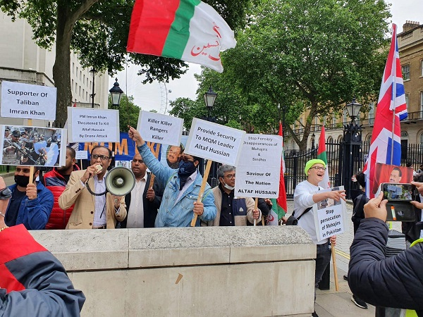 MQM stages protest in London