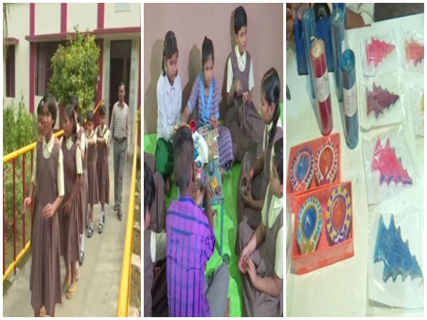 Children with disability made eco frindly diays for Diwali in Varanasi [Photo/ANI]