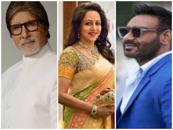 Amitabh Bachchan, Ajay Devgn and Hema Malini(Image courtesy: Instagram)