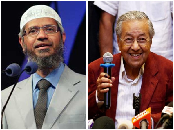 Controversial Islamic preacher Zakir Naik (left) and Malaysian PM Mahathir Mohamad (right). (File photos)