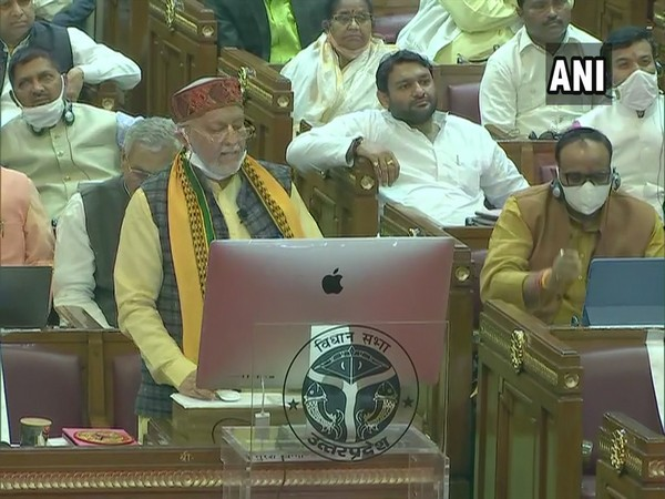 UP Finance Minister Suresh Kumar Khanna presenting the Budget 2021-2022.