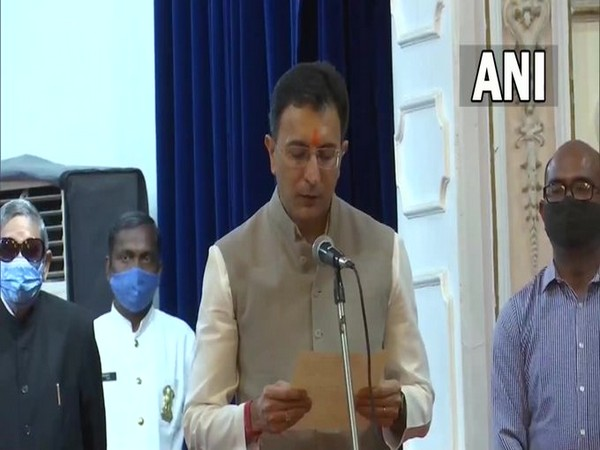 BJP leader Jitin Prasada takes oath as a minister in the Uttar Pradesh Cabinet on Sunday. (Photo/ANI)