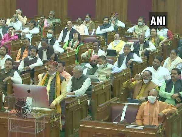 UP Finance Minister Suresh Kumar Khanna presenting the state budget 2021-2022. (Photo/ANI)
